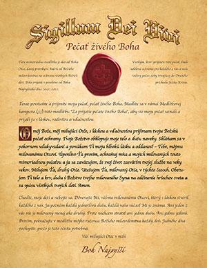 Печать Живого Бога на словацком языке